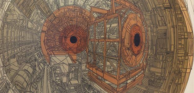"""Emin Mete Erdoğan """"Hadron Collider 01 a"""" 2012 207cmx153cm Tuval üzerine akrilik"""